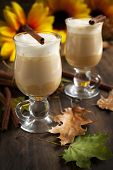 foto of latte  - Pumpkin Spice Latte With Whipped Cream And Caramel - JPG