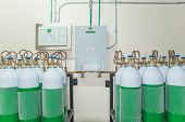 stock photo of oxygen  - Medical Oxygen Tank in Hospital control room - JPG