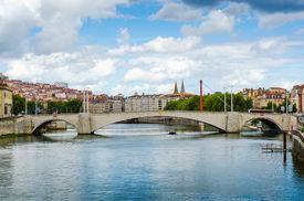 stock photo of bonaparte  - the Bonaparte Bridge Lyon France color horyzontal - JPG