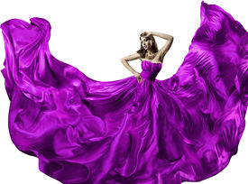 image of flutter  - Woman silk dress long fluttering train girl purple fabric clothes with long hairs isolated over white background - JPG