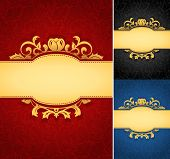 stock photo of brocade  - A collection of royal aged damask parchment backgrounds - JPG