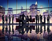 stock photo of conversation  - Business People Meeting Corporate Office Buildings Working Concept - JPG