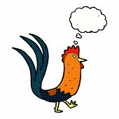stock photo of cockerels  - cartoon cockerel with thought bubble - JPG