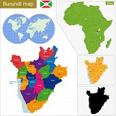 stock photo of burundi  - Administrative division of the Republic of Burundi - JPG