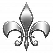 foto of fleur de lis  - 3d silver fleur de lis isolated in white - JPG