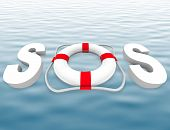 Sos - Life Preserver On Water Surface