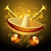 stock photo of mexican fiesta  - Illustration of fiesta celebration with sombrero maracas and trumpets against festive background - JPG