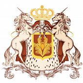pic of unicorn  - Vector heraldic illustration in vintage style with shield unicorns and crown - JPG