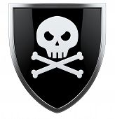 foto of skull cross bones  - Pirate skull with crossed bones black and white shiled - JPG