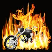 picture of chopper  - Vector illustration chopper with flames and customize - JPG