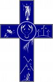 pic of crucifixion  - A vector illustration of a cross filled with illustrations depicting the story of the crucifixion and resurrection of Christ - JPG