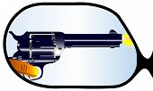 picture of revolver  - A typical wing mirror with reflections of a revolver being fired into the vehicle - JPG