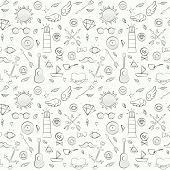 image of peace-pipe  - Vector illustration of sea hipster seamless pattern - JPG