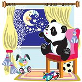 image of panda  - cartoon panda bear look out the window at the moon  - JPG