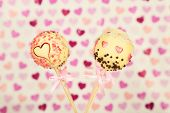 pic of cake pop  - Tasty cake pops on color background - JPG