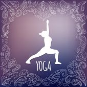 stock photo of virabhadrasana  - Yoga logo with heart frame and girl practicing Warrior I Pose  - JPG
