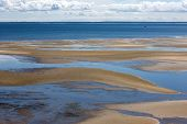 stock photo of cape-cod  - Bay water and grass in Welfleet Cape Cod - JPG
