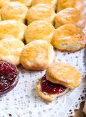 picture of buttermilk  - Buttermilk scones with strawberry jam on table - JPG
