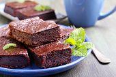 image of brownie  - Chocolate and pumpkin brownie slices selective focus - JPG
