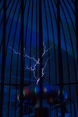 picture of transformer  - Resonant transformer in work. Tesla coil. Closeup view ** Note: Visible grain at 100%, best at smaller sizes - JPG