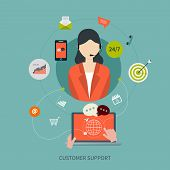 picture of telephone operator  - Business customer care service concept flat icons - JPG