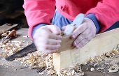 picture of workbench  - Carpenter working wood on the workbench carpentry - JPG