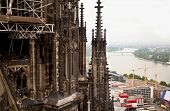 stock photo of koln  - View of Cologne and the Rhine River. Germany ** Note: Visible grain at 100%, best at smaller sizes - JPG
