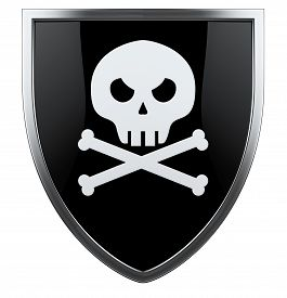 image of skull cross bones  - Pirate skull with crossed bones black and white shiled - JPG