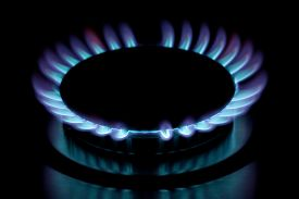 picture of grils  - Gas burning in the burner of gas oven - JPG