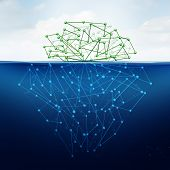 stock photo of iceberg  - Deep web and hidden internet technology as a digital age issue concept as a dark website in cyberspace underground from search engines as a content symbol for the deepnet as a network group of connected geometry shaped as an iceberg icon - JPG