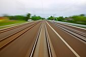 pic of high-speed train  - Railway tracks with high speed motion blur - JPG