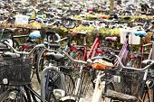 stock photo of parking lot  - Bicycles parking lot - JPG