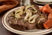 pic of pot roast  - Juicy pot roast on a platter with carrots and onions - JPG