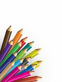 pic of backround  - Collections of pencils colour with white backround - JPG