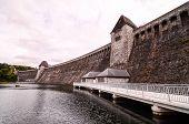 stock photo of dam  - Mohnesee Westfalia Delecke European German Water Dam - JPG