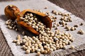 pic of peppercorns  - White peppercorns in wooden scoop on burlap - JPG