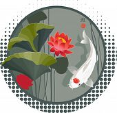 picture of koi tattoo  - Vector illustration of Sacred Japanese Koi carp and lotus flower in round shape background - JPG