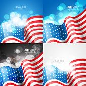 picture of election campaign  - vector creative set of american flag design of 4th july independence day background illustration - JPG