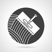 picture of trowel  - Flat round black vector icon with white contour trowel for tiling on gray background - JPG