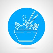 image of chinese menu  - Blue round vector icon with white line dish with boiled rice - JPG