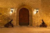 stock photo of royal palace  - Entrance door Almudaina Royal Palace in Palma de Mallorca Balearic Islands Spain - JPG