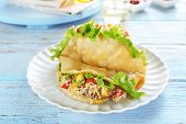 foto of tacos  - Tasty taco on plate on table close up - JPG