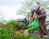 image of pullovers  - The girl of nine years in a warm pullover and brown jeans waters color in a garden from a green watering can - JPG