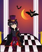 picture of vampire bat  - Cartoon vampire with bats on balcony with checkered floor - JPG