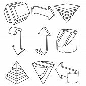 image of cylinder pyramid  - Set of 3D Geometric Shapes and Arrows - JPG