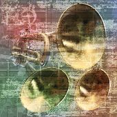 stock photo of trumpet  - abstract grunge vintage sound background with trumpets - JPG