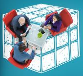 stock photo of twisty  - Cube Dice Dimension Logic Mind Thinking Concept - JPG