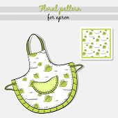 image of apron  - Hand drawn apron with floral pattern - JPG