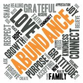 picture of abundance  - Abundance word cloud on a white background - JPG
