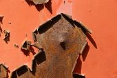 picture of scrap-iron  - Rusted iron surface with curled - JPG